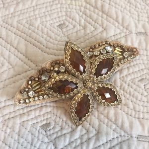 Accessories - Hand pieced gold beaded barrette